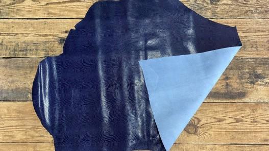 Recto verso peau de cuir de vachette grain façon serpent - bleu - maroquinerie - cuirenstock