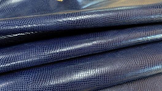 Demi peau de cuir de vachette grain façon serpent - bleu - maroquinerie - Cuirenstock