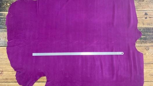 Peau de veau velours grainé fuschia - maroquinerie - ameublement - Cuir en Stock