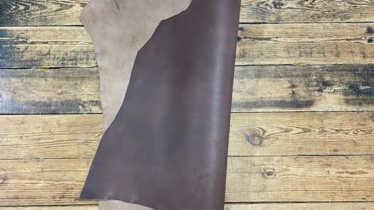 Recto verso collet de vache tannage végétal naturel brun  - Cuirenstock