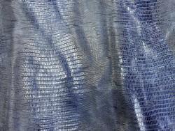 Demi peau de cuir de veau grain façon lézard bleu - maroquinerie - Cuir en Stock