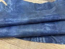 Demi peau de cuir de veau grain façon lézard bleu - maroquinerie - Cuirenstock