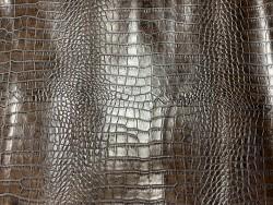 Cuir de veau façon crocodile marron - maroquinerie - Cuir en stock