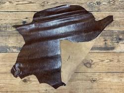 Recto verso peau de cuir de veau façon crocodile marron - maroquinerie - cuir en stock