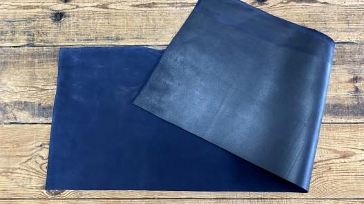 Recto verso morceau de cuir de vachette velours bleu - cuir en stock