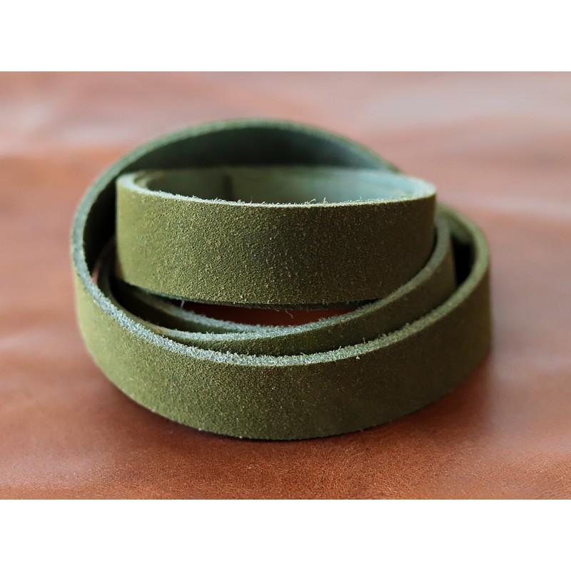 Bande de cuir souple double croupon velours vert olive - Cuir en Stock