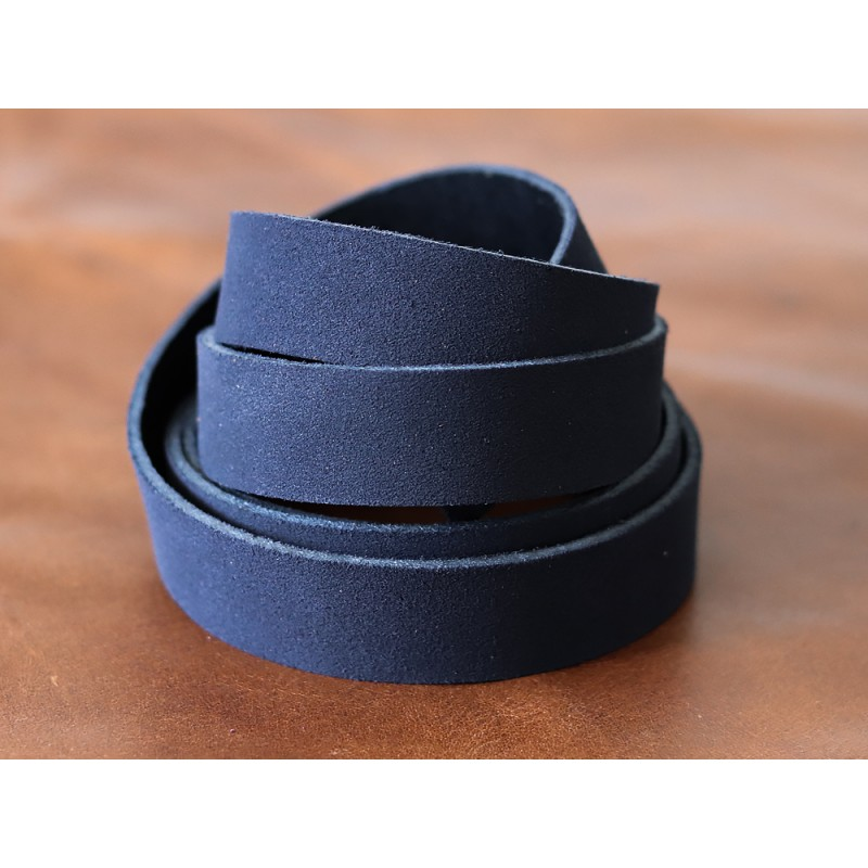 Bande de cuir souple double croupon velours bleu marine - Cuir en Stock