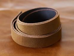 Bande de cuir souple double croupon velours brun tabac - Cuir en Stock