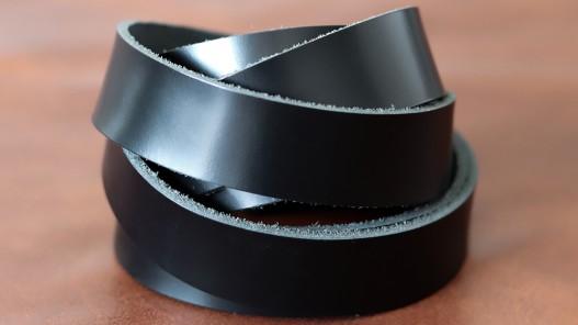 Bande de cuir souple double croupon noir satiné - Cuir en Stock