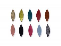 Lot de 10 losanges en cuir coloré pour créations et loisirs créatifs - Cuir en Stock