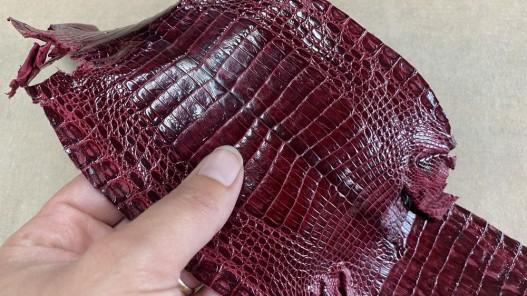 Petite peau de cuir de crocodile véritable - bordeaux - bijou - accessoire - Cuir en Stock