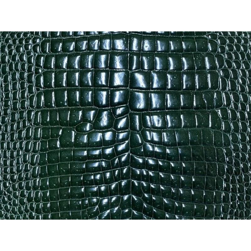 Détail peau de cuir de ventre de crocodile vert - maroquinerie - Cuir en stock