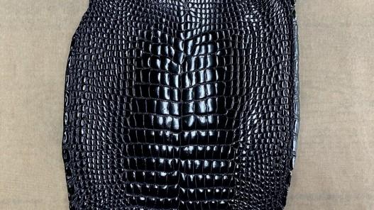 Peau de cuir de ventre de crocodile bleu nuit - maroquinerie - Cuir en Stock
