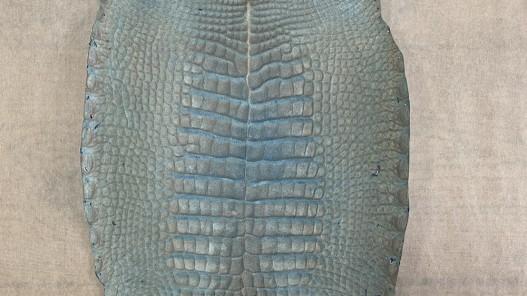 Envers peau de cuir de ventre de crocodile bleu nuit - maroquinerie - cuir en stock