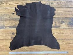 Peau de cuir de chèvre nubuck ciré brun - maroquinerie - Cuir en Stock