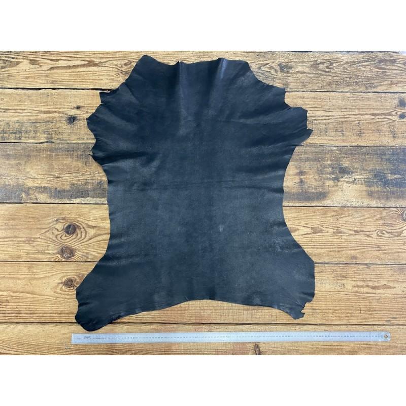 Peau de cuir de chèvre nubuck ciré noir - maroquinerie - Cuir en Stock