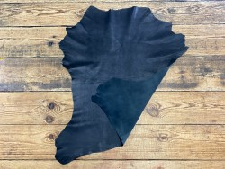 Recto verso peau de cuir de chèvre nubuck ciré noir - maroquinerie - cuir en stock