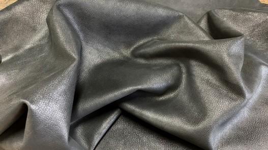 Souplesse peau de cuir de chèvre nubuck ciré noir - maroquinerie - Cuirenstock