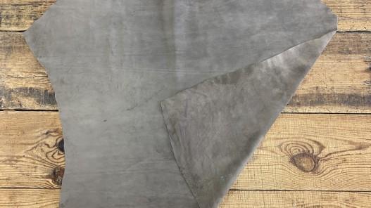 Recto verso peau de veau velours gris taupe - maroquinerie - vêtement - ameublement - cuirenstock
