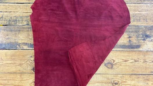 Recto verso peau de veau velours bordeaux - maroquinerie vêtement ameublement - cuir en stock