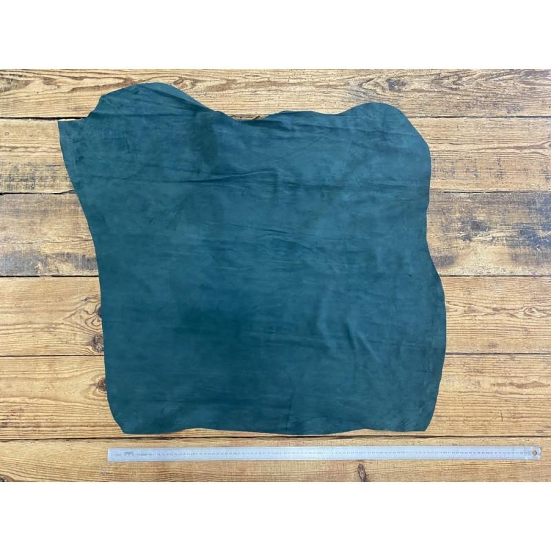 Peau de veau velours vert forêt - maroquinerie, vêtement - Cuir en Stock