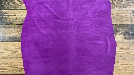 Peau de veau velours rose fuschia - maroquinerie - ameublement - Cuir en Stock