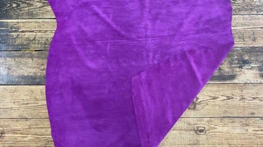 Recto verso peau de veau velours rose fuschia - maroquinerie - ameublement - cuir en stock