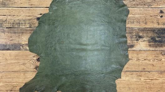 Peau de cuir de mouton - effet vieilli vert - maroquinerie - Cuir en Stock