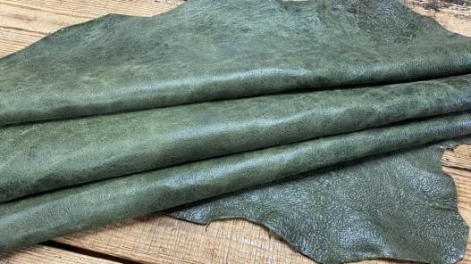 Peau de cuir de mouton - effet vieilli vert - maroquinerie - Cuirenstock