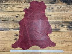 Peau de cuir de mouton - effet vieilli rouge - maroquinerie - Cuir en Stock