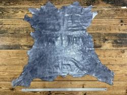 Peau de cuir de veau effet froissé gris argenté - maroquinerie - Cuir en Stock