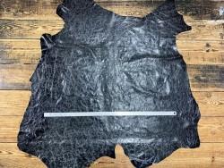 Peau de cuir de porc classique - maroquinerie - effet vieilli noir - Cuir en Stock