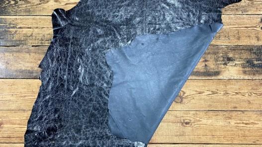 Recto verso peau de cuir de porc classique - maroquinerie - effet vieilli noir - cuirenstock