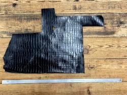Demi peau de cuir de vachette grain façon crocodile noir - maroquinerie - Cuir en Stock