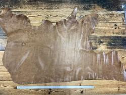 Morceau de cuir de veau pullup brun clair nuancé - cuir gras - maroquinerie - Cuir en stock