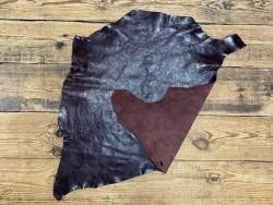 Recto verso peau de cuir de buffle bordeaux - maroquinerie - cuir en stock