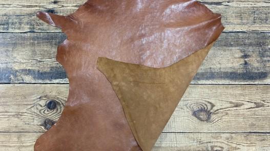 Recto verso peau de cuir de buffle brun cognac - maroquinerie - cuir en stock