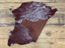 Recto verso cuir de buffle brun rouge - maroquinerie - cuir en stock