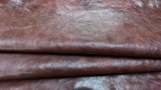 Peau de cuir de buffle brun rouge - maroquinerie - Cuirenstock