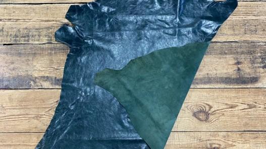 Recto verso peau de cuir de buffle vert forêt - maroquinerie - cuir en stock