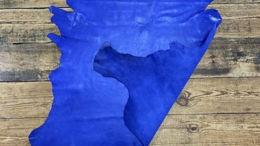 Recto verso peau de cuir de buffle bleu lavande - maroquinerie - cuir en stock