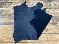 Grand morceau de cuir gras - vachette noir pullup - maroquinerie - cuir en stock