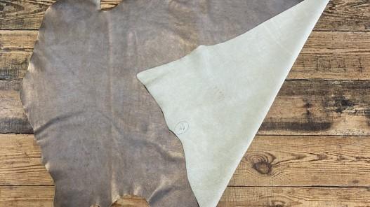 Recto verso peau de veau lisse bronze métallisé cuir en stock