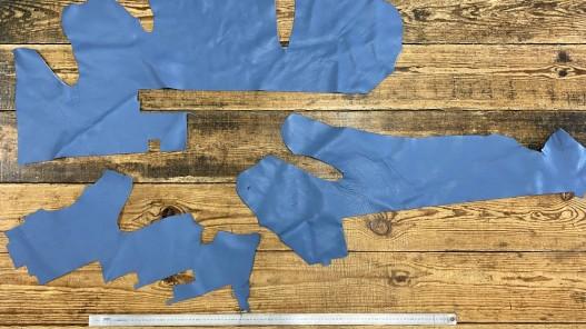 Chutes de cuir vendu au poids veau bleu jeans morceau cuir en stock