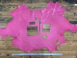 Peau de cuir d'autruche rose fuchsia picots luxe Cuir en stock