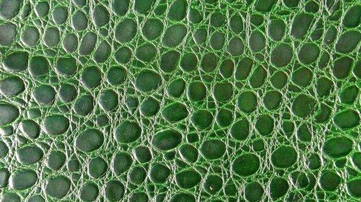 morceau de cuir de vache grain croco vert cuirenstock