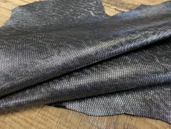 Peau de cuir de chèvre métallisé pailleté silver - Cuir en Stock