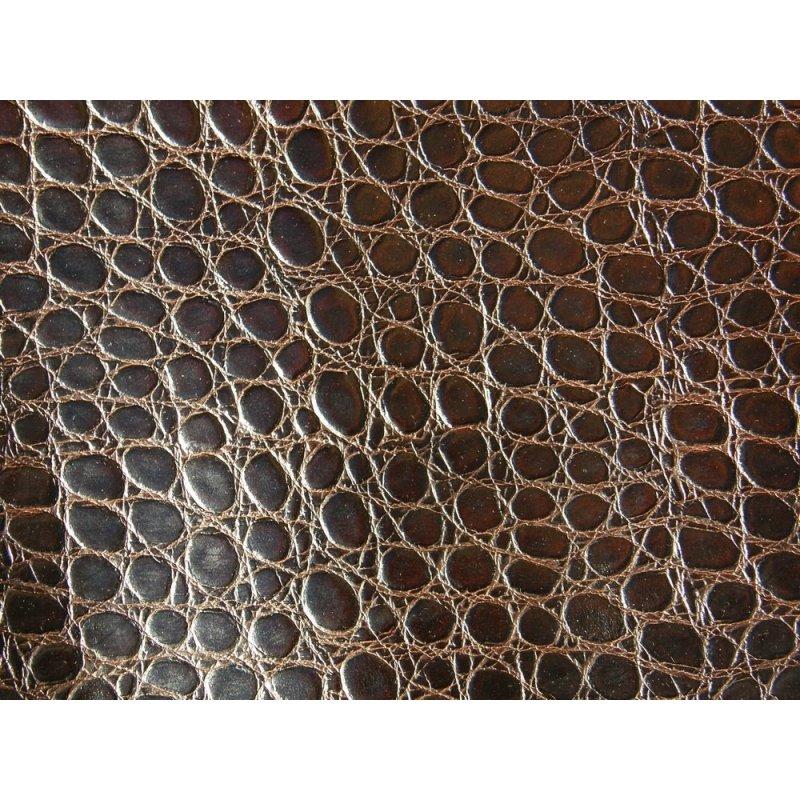 morceau de cuir de vache grain croco marron brun cuirenstock