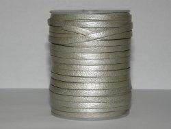 Lacet cuir plat 3mm argent