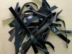 Chutes bande cuir box lisse noir Cuir en Stock